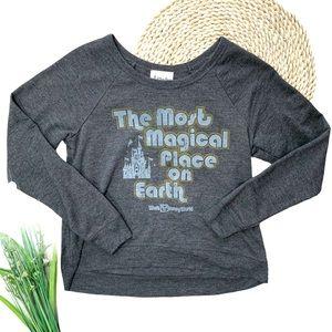 Disney Parks Retro Logo Long Sleeve Pullover Crewneck Sweatshirt Top Size XS